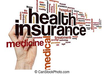 gezondheid verzekering, woord, wolk, concept