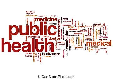 gezondheid, woord, publiek, wolk