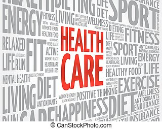 gezondheid, woord, wolk, care