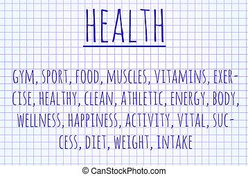 gezondheid, woord, wolk