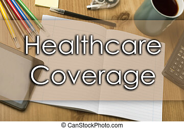 gezondheidszorg dekking, -, handel concept, met, tekst