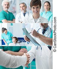 gezondheidszorg deskundigen, banieren, set