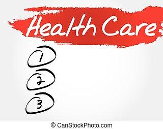 gezondheidszorg, lijst, leeg
