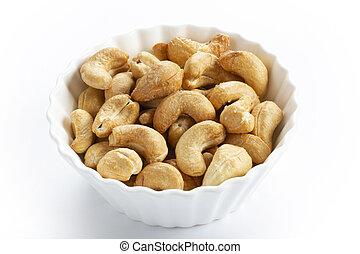 gezouten, nootjes, cashews, geroosterd