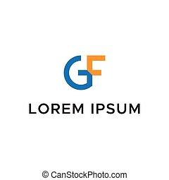 gf, początkowy, litera, logo