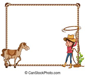 gf_frames_45 - White background with cowgirl and horse frame