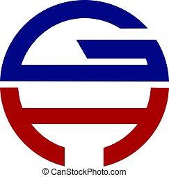 gh, 현대, 편지, 로고, 디자인