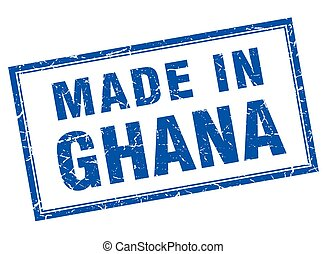 Ghana blue square grunge made in stamp