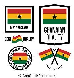 ghana, calidad, bienes, conjunto, etiqueta