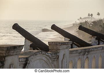 ghana, cannone, castello, capo, costa