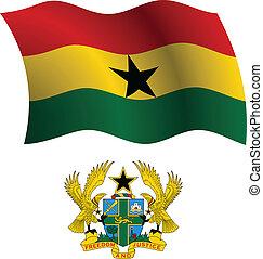 ghana, chamarra, bandera, ondulado