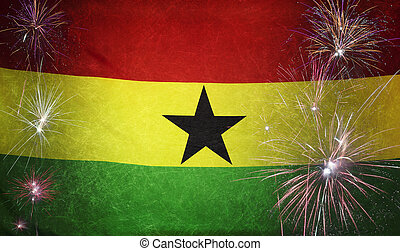 Ghana Flag Firework Grunge Concept real fabric