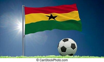Ghana flag fluttering and football rolls - Flag of Ghana...