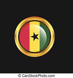 Ghana flag Golden button