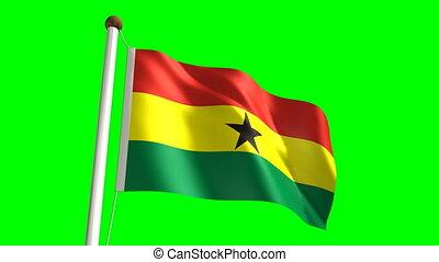 Ghana flag (Loop & green screen) - 3D Ghana flag video...