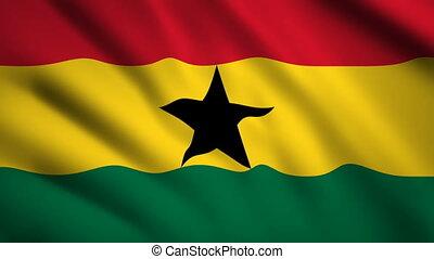 Ghana flag Motion video waving in wind. Flag Closeup 1080p...