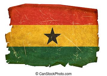 Ghana Flag old, isolated on white background.