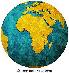 ghana flag on globe map