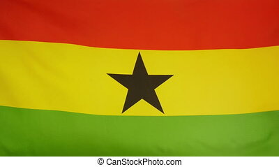 Ghana Flag real fabric close up - Textile flag of Ghana with...