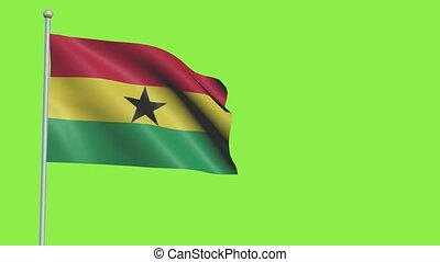 Ghana Flag in 3D render with green screen background in Slow Motion