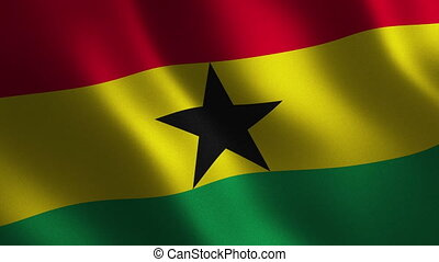 Ghana flag waving 3d. Abstract background. Loop animation....