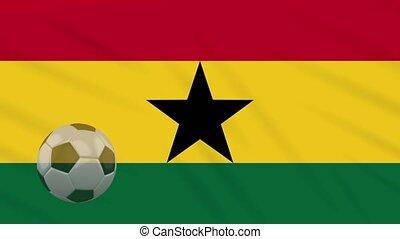 Ghana flag waving and soccer ball rotates, loop - Ghana flag...