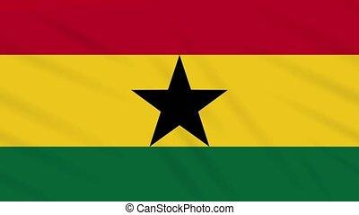 Ghana flag waving cloth, background loop - Ghana flag waving...