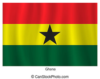 Ghana flag with title on the white background