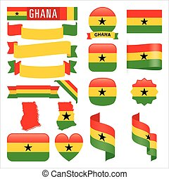 Ghana flags - Set of Ghana maps, flags, ribbons, icons and...