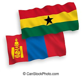 ghana, fondo blanco, banderas, mongolia