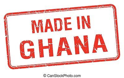 ghana, hecho, estampilla, aislado, cuadrado, rojo