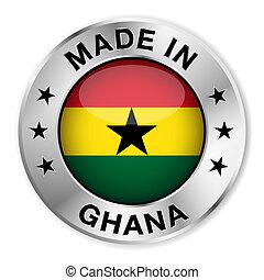 ghana, hecho, insignia, plata