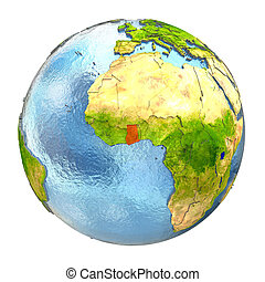 Ghana highlighted in red on Earth. 3D illustration with highly detailed realistic planet surface isolated on white background. Elements of this image furnished by NASA.