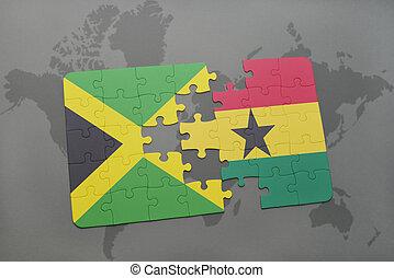 ghana, jamaica, mapa, hádanka, prapor, společnost, národnostní