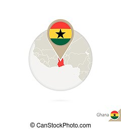 Ghana map and flag in circle. Map of Ghana, Ghana flag pin....