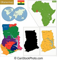 Ghana map - Administrative division of the Republic of Ghana