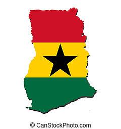 Ghana map flag