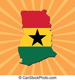 Ghana map flag on sunburst