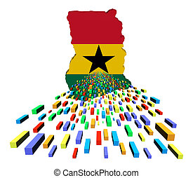 Ghana map flag with containers illustration