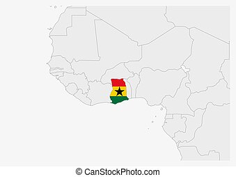 Ghana map highlighted in Ghana flag colors, gray map with neighboring countries.