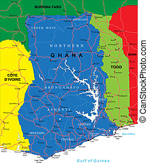 Highly detailed vector map of Ghana with administrative regions, main cities and roads.