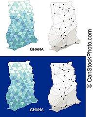 Ghana map in geometric polygonal.