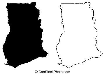 Ghana Map Highly Detailed Vector Map Of Ghana With Vector - Ghana map