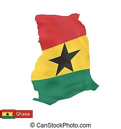 Ghana map with waving flag of country.