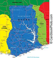 ghana, mapa