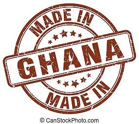 ghana, marrón, hecho, grunge, estampilla, redondo