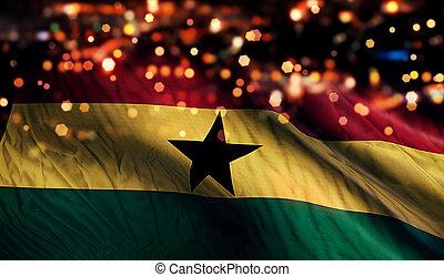 Ghana National Flag Light Night Bokeh Abstract Background