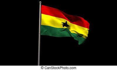 Ghana national flag waving on flagpole on black background