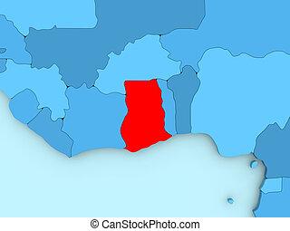 Ghana on 3D map