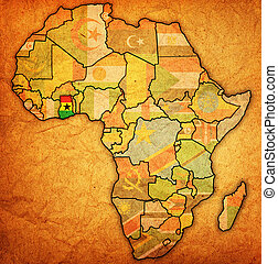 ghana on actual vintage political map of africa with flags